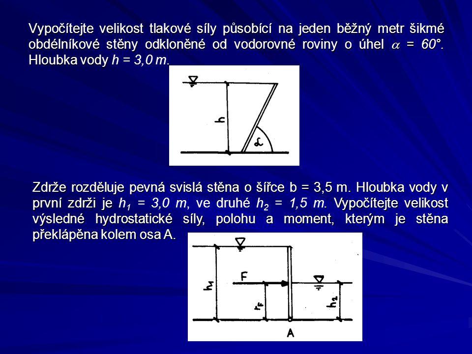 Vypočítejte velikost tlakové síly působící na jeden běžný metr šikmé obdélníkové stěny odkloněné od vodorovné roviny o úhel  = 60°.