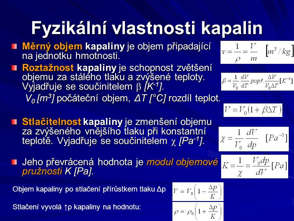 Fyzikální vlastnosti kapalin Měrný objem kapaliny je objem připadající na jednotku hmotnosti.