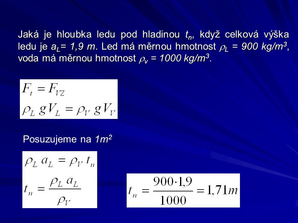 Jaká je hloubka ledu pod hladinou t n, když celková výška ledu je a L = 1,9 m.
