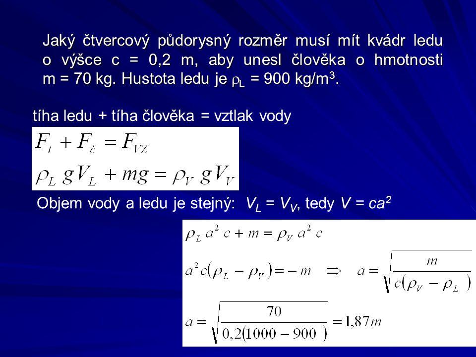 Jaký čtvercový půdorysný rozměr musí mít kvádr ledu o výšce c = 0,2 m, aby unesl člověka o hmotnosti m = 70 kg.
