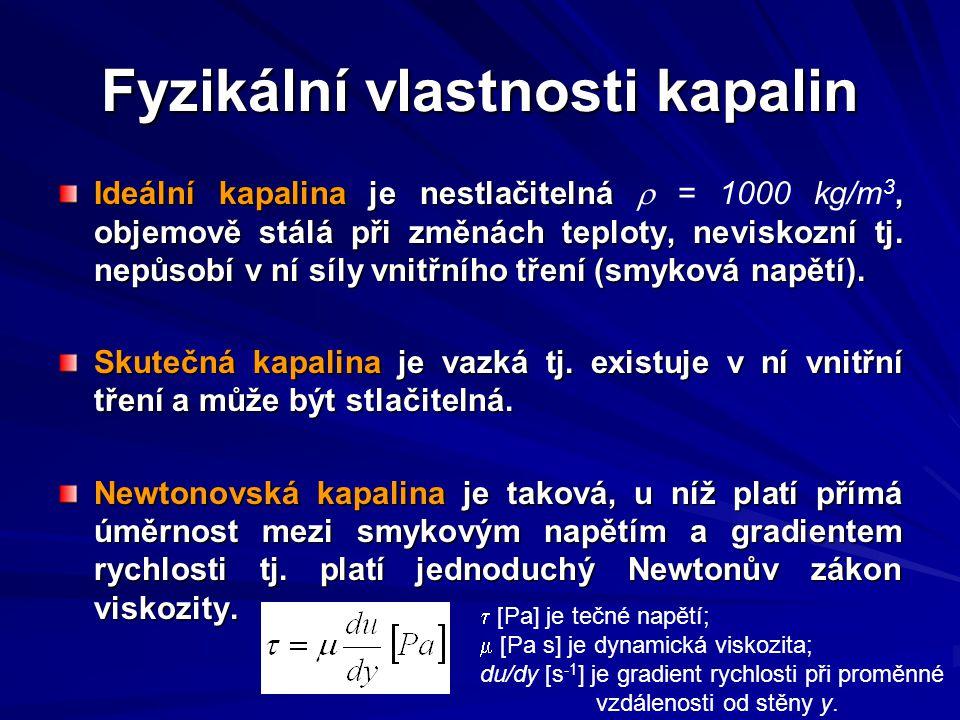 Fyzikální vlastnosti kapalin Nenewtonovská kapalina je taková, u níž neplatí Newtonův zákon viskozity.