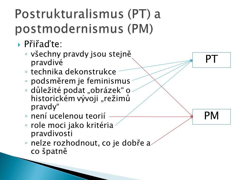 """ Přiřaďte: ◦ všechny pravdy jsou stejně pravdivé ◦ technika dekonstrukce ◦ podsměrem je feminismus ◦ důležité podat """"obrázek o historickém vývoji """"režimů pravdy ◦ není ucelenou teorií ◦ role moci jako kritéria pravdivosti ◦ nelze rozhodnout, co je dobře a co špatně PT PM"""