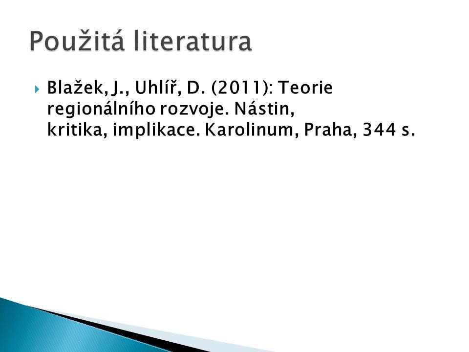  Blažek, J., Uhlíř, D. (2011): Teorie regionálního rozvoje.