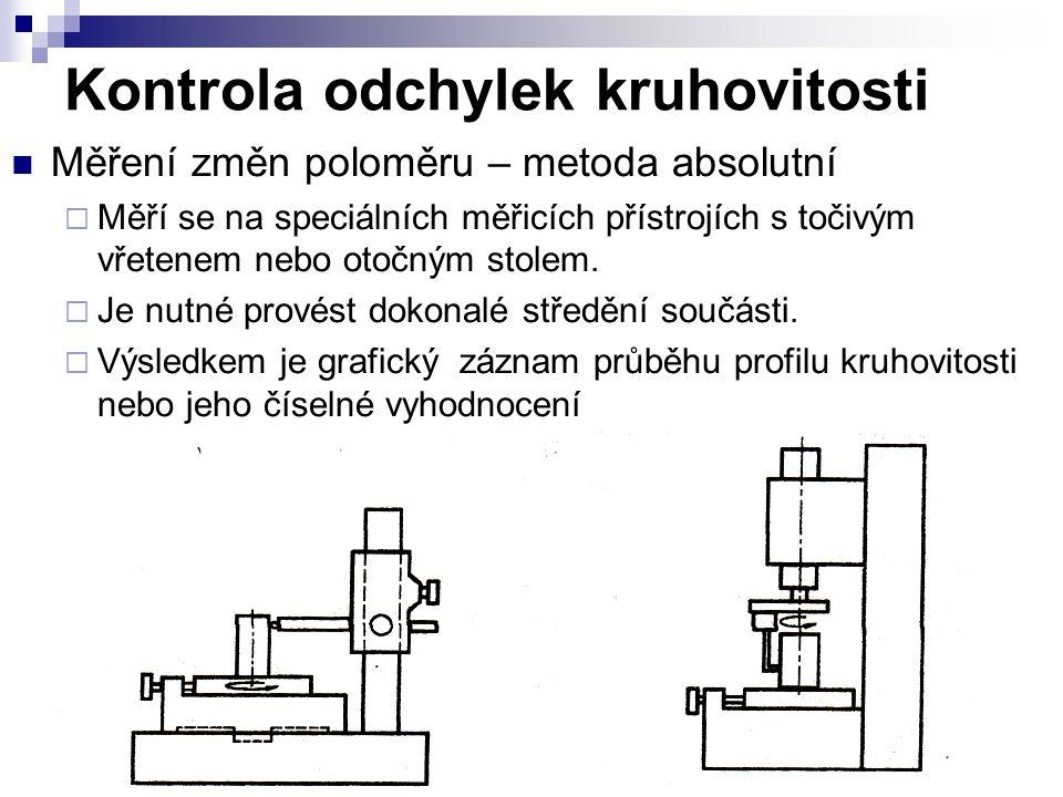 Kontrola odchylek kruhovitosti Měření změn poloměru – metoda absolutní  Měří se na speciálních měřicích přístrojích s točivým vřetenem nebo otočným stolem.