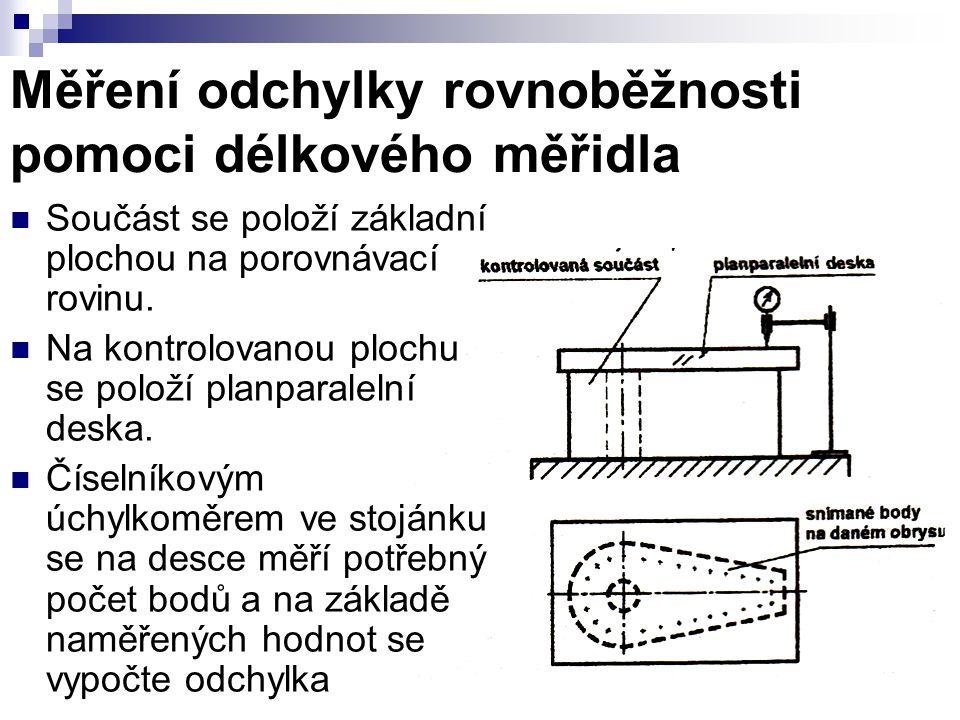 Měření odchylky rovnoběžnosti pomoci délkového měřidla Součást se položí základní plochou na porovnávací rovinu.