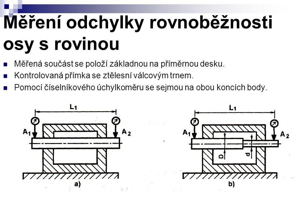 Měření odchylky rovnoběžnosti osy s rovinou Měřená součást se položí základnou na příměrnou desku.
