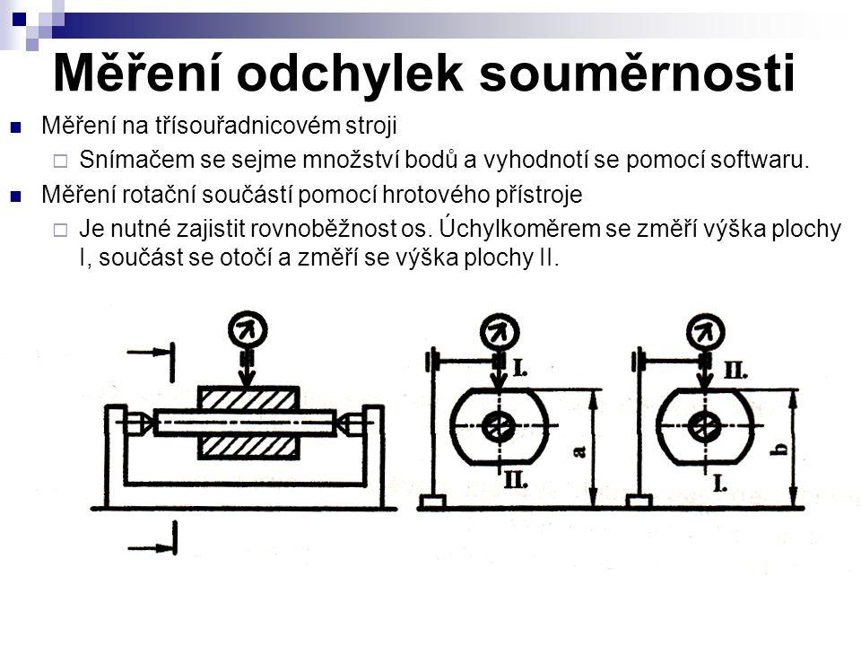 Měření odchylek souměrnosti Měření na třísouřadnicovém stroji  Snímačem se sejme množství bodů a vyhodnotí se pomocí softwaru.