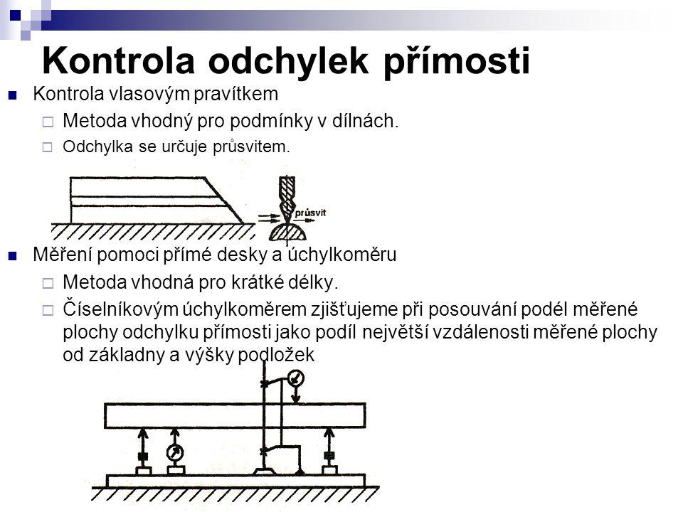 Kontrola odchylek přímosti Kontrola vlasovým pravítkem  Metoda vhodný pro podmínky v dílnách.