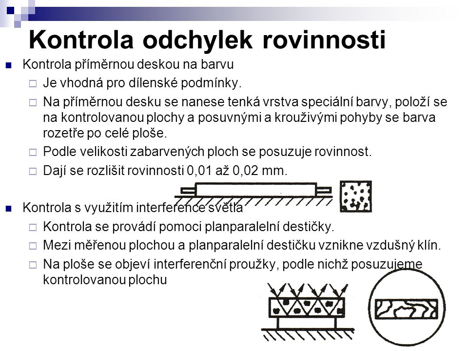 Kontrola odchylek rovinnosti Kontrola příměrnou deskou na barvu  Je vhodná pro dílenské podmínky.