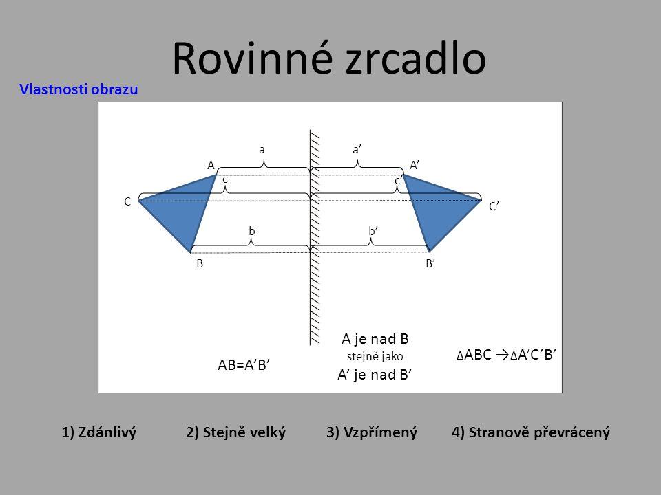 Vlastnosti obrazu Rovinné zrcadlo aa'a' A C B A'A' C'C' B'B' c c'c' bb'b' 2) Stejně velký3) Vzpřímený1) Zdánlivý4) Stranově převrácený AB=A'B' A je nad B stejně jako A' je nad B' ∆ ABC → ∆ A'C'B'