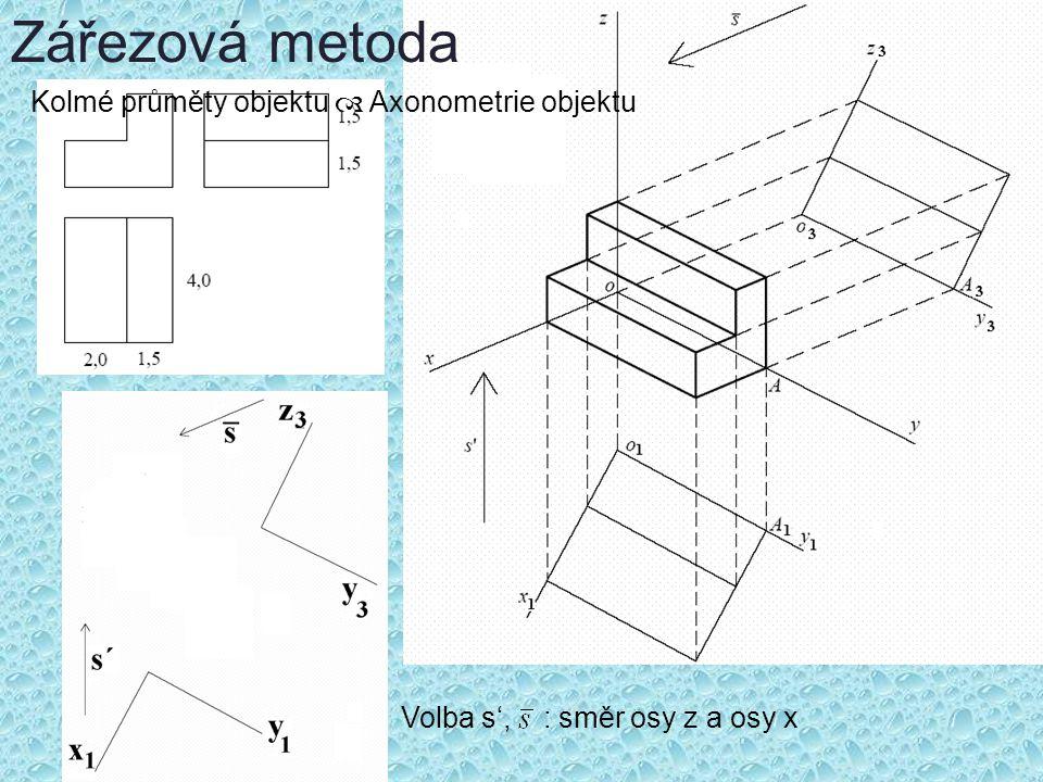 Zářezová metoda Volba s', : směr osy z a osy x Kolmé průměty objektu  Axonometrie objektu