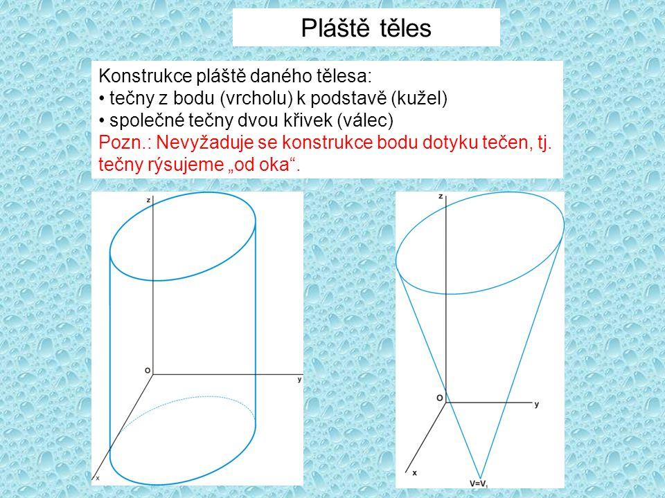 Pláště těles Konstrukce pláště daného tělesa: tečny z bodu (vrcholu) k podstavě (kužel) společné tečny dvou křivek (válec) Pozn.: Nevyžaduje se konstr