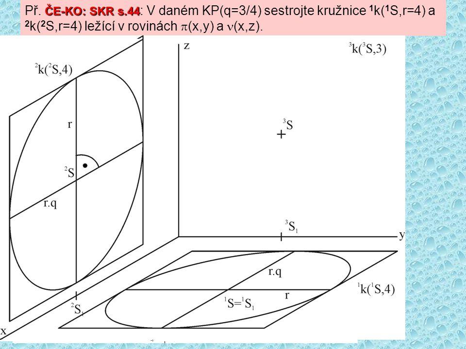 ČE-KO: SKR s.44 Př. ČE-KO: SKR s.44 : V daném KP(q=3/4) sestrojte kružnice 1 k( 1 S,r=4) a 2 k( 2 S,r=4) ležící v rovinách  (x,y) a (x,z).