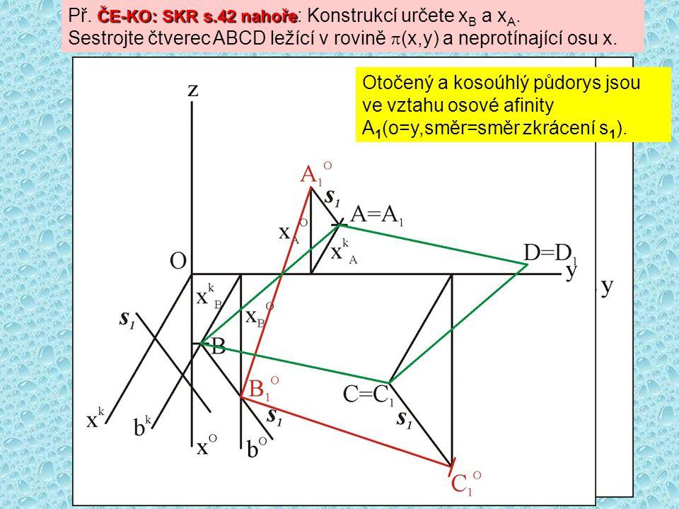 ČE-KO: SKR s.42 nahoře Př. ČE-KO: SKR s.42 nahoře : Konstrukcí určete x B a x A. Sestrojte čtverec ABCD ležící v rovině  (x,y) a neprotínající osu x.