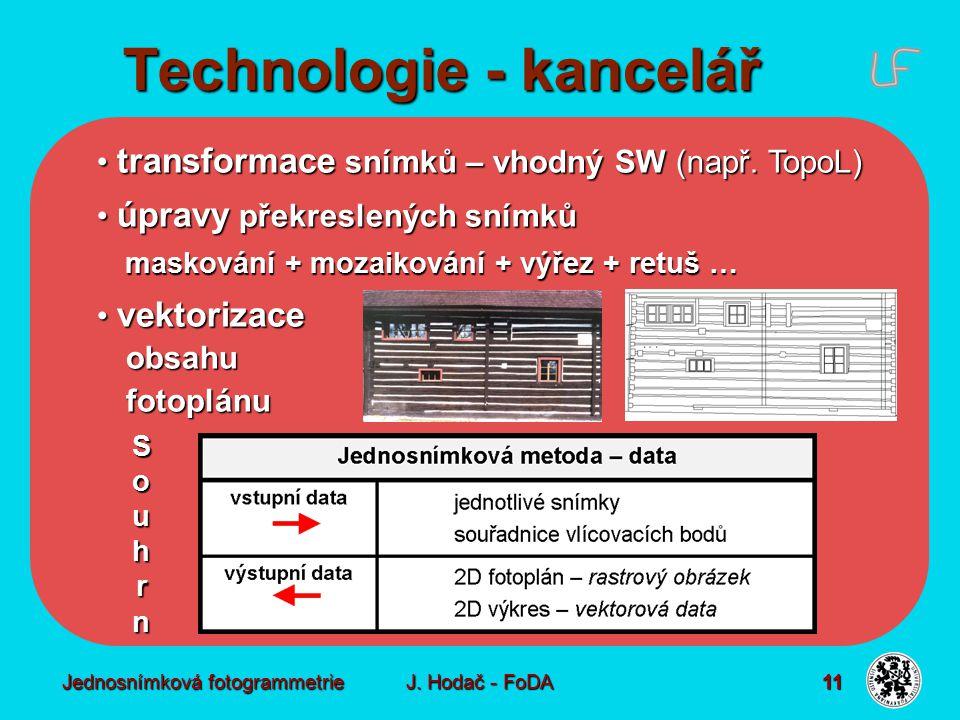 Jednosnímková fotogrammetrie J. Hodač - FoDA 11 transformace snímků – vhodný SW (např. TopoL) transformace snímků – vhodný SW (např. TopoL) úpravy pře