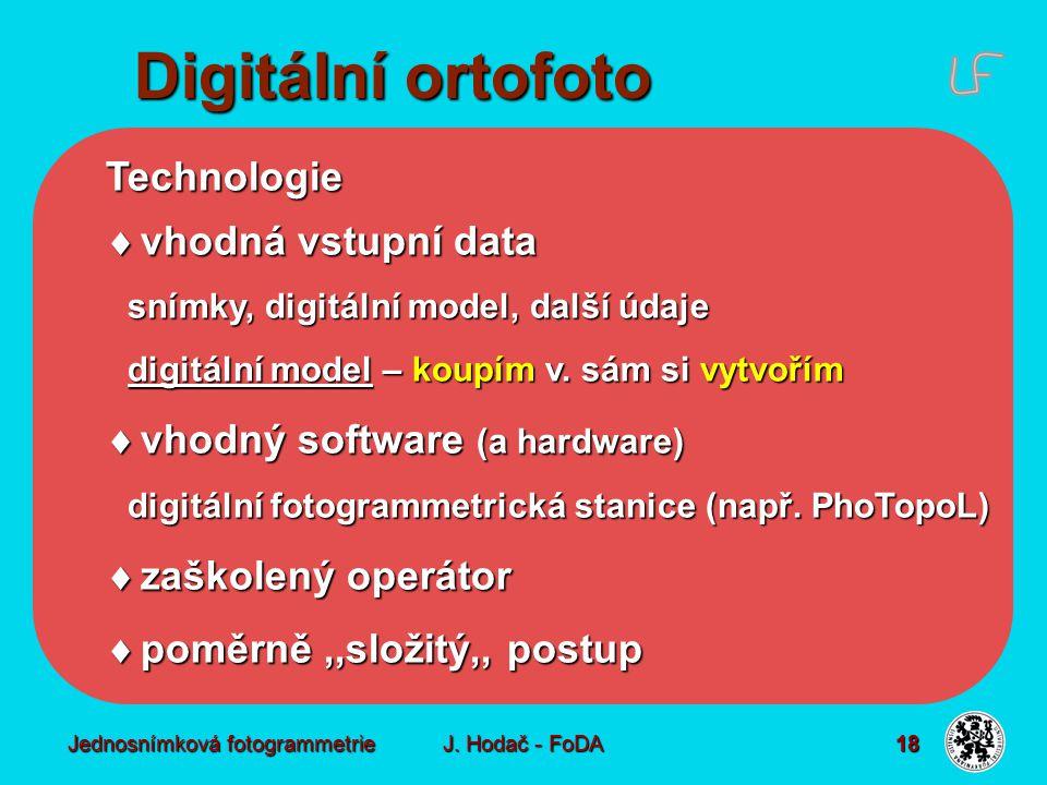 Jednosnímková fotogrammetrie J. Hodač - FoDA 18 Technologie  vhodná vstupní data snímky, digitální model, další údaje digitální model – koupím v. sám