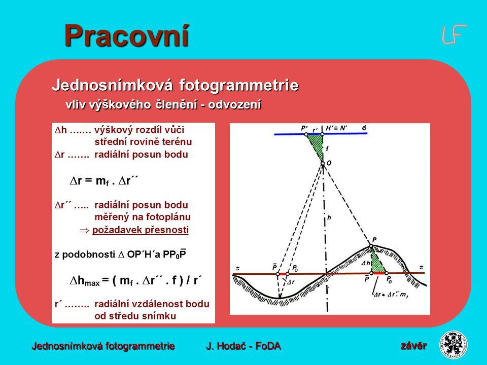 Jednosnímková fotogrammetrie J. Hodač - FoDA Pracovní Jednosnímková fotogrammetrie vliv výškového členění - odvození vliv výškového členění - odvození