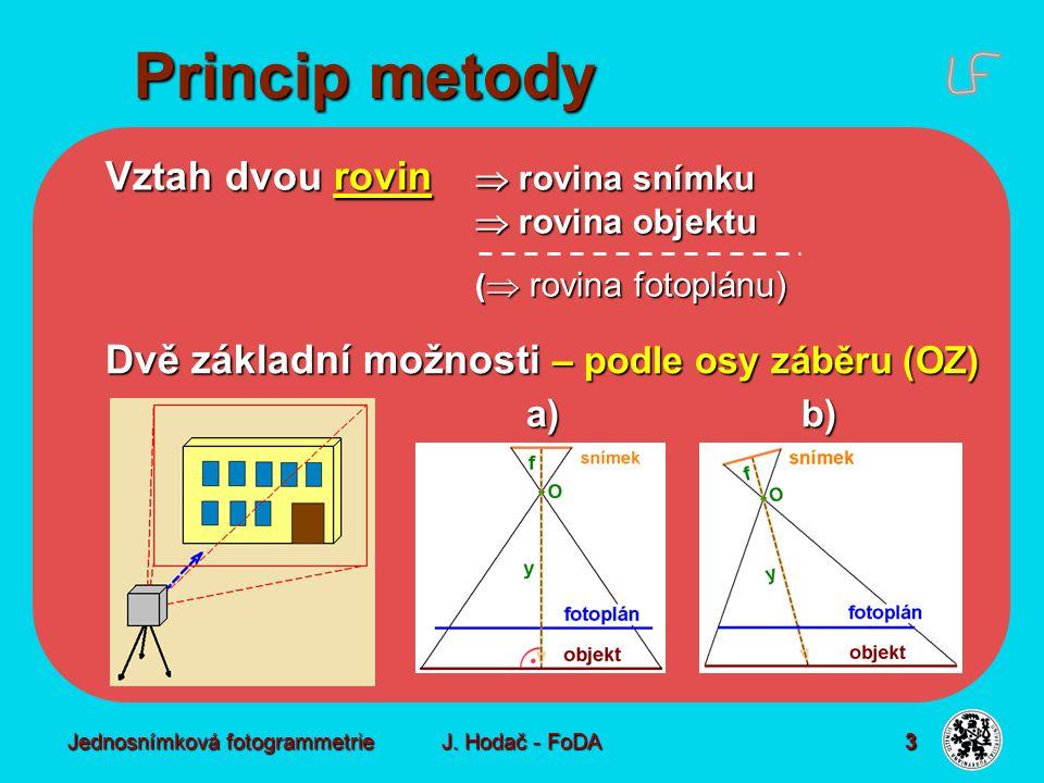 Jednosnímková fotogrammetrie J. Hodač - FoDA 3 Vztah dvou rovin  rovina snímku  rovina objektu (  rovina fotoplánu) Dvě základní možnosti – podle o