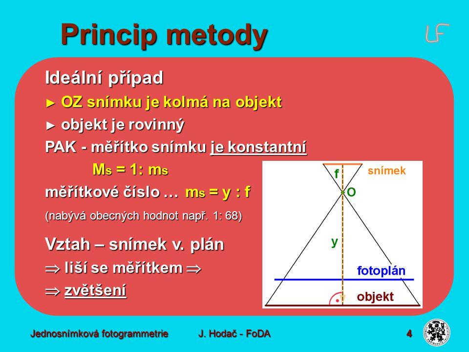 Jednosnímková fotogrammetrie J. Hodač - FoDA 4 Ideální případ ► OZ snímku je kolmá na objekt ► objekt je rovinný PAK - měřítko snímku je konstantní M