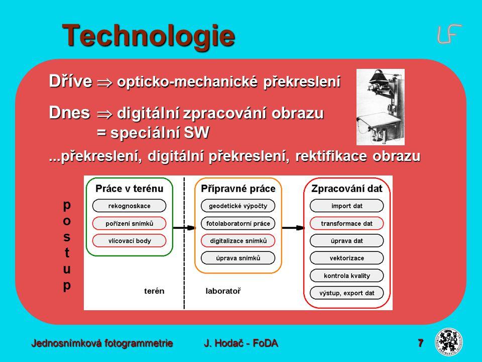 Jednosnímková fotogrammetrie J. Hodač - FoDA 7 Dnes  digitální zpracování obrazu = speciální SW...překreslení, digitální překreslení, rektifikace obr