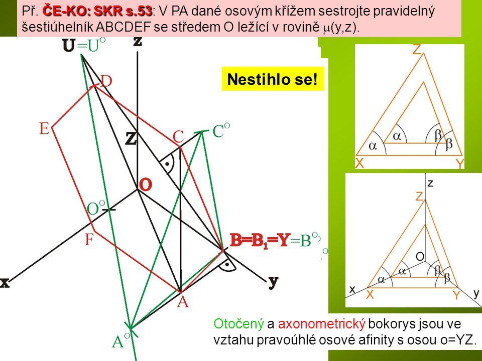 ČE-KO: SKR s.53 Př. ČE-KO: SKR s.53: V PA dané osovým křížem sestrojte pravidelný šestiúhelník ABCDEF se středem O ležící v rovině  (y,z). Otočený a