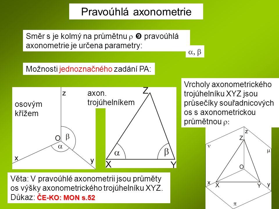 Možnosti jednoznačného zadání PA: Směr s je kolmý na průmětnu   pravoúhlá axonometrie je určena parametry:  Pravoúhlá axonometrie Věta: V pravoú