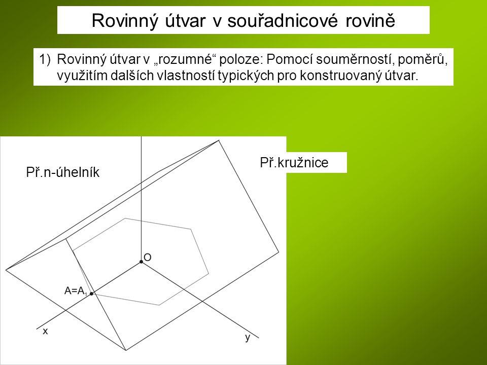 """1)Rovinný útvar v """"rozumné"""" poloze: Pomocí souměrností, poměrů, využitím dalších vlastností typických pro konstruovaný útvar. Př.n-úhelník Př.kružnice"""
