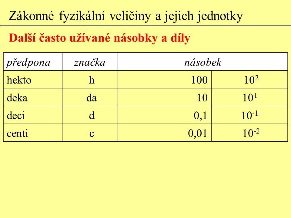 Zákonné fyzikální veličiny a jejich jednotky Další často užívané násobky a díly předponaznačkanásobek hektoh100 10 2 dekada1010 1 decid0,110 -1 centic