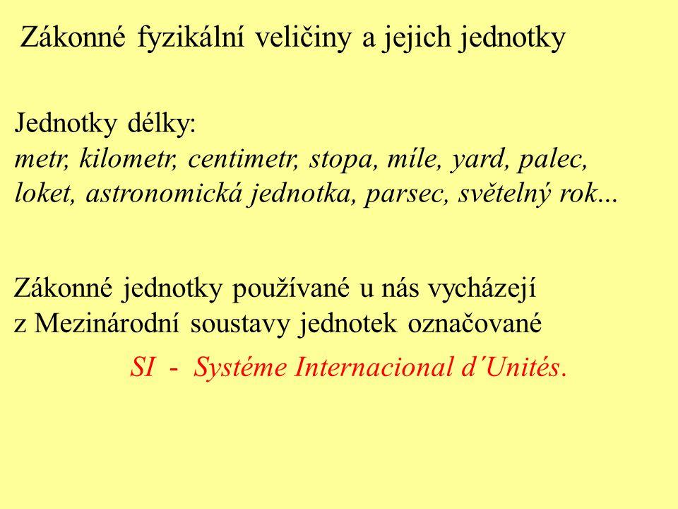 Zákonné jednotky používané u nás vycházejí z Mezinárodní soustavy jednotek označované SI - Systéme Internacional d´Unités. Jednotky délky: metr, kilom