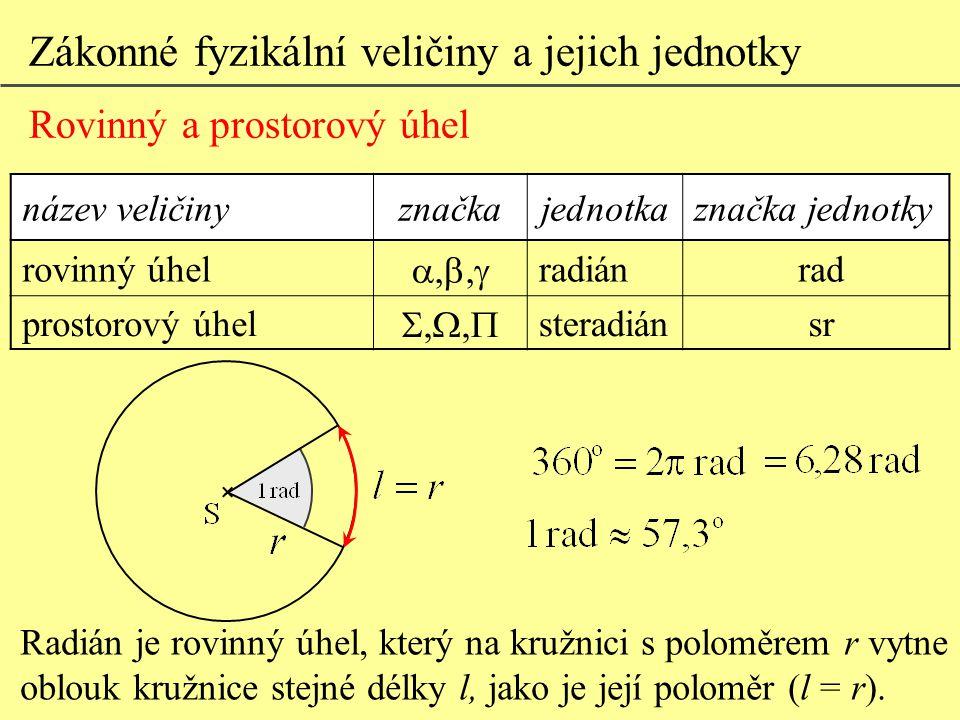 Zákonné fyzikální veličiny a jejich jednotky Rovinný a prostorový úhel název veličinyznačkajednotkaznačka jednotky rovinný úhel  radiánrad prostorový úhel  steradiánsr Steradián je prostorový úhel s vrcholem ve středu kulové plochy, který na této ploše vytíná část o obsahu čtverce se stranou délky poloměru koule.