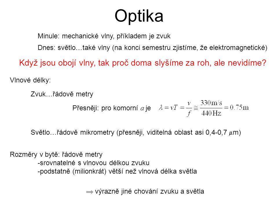 Optika Minule: mechanické vlny, příkladem je zvuk Dnes: světlo…také vlny (na konci semestru zjistíme, že elektromagnetické) Když jsou obojí vlny, tak