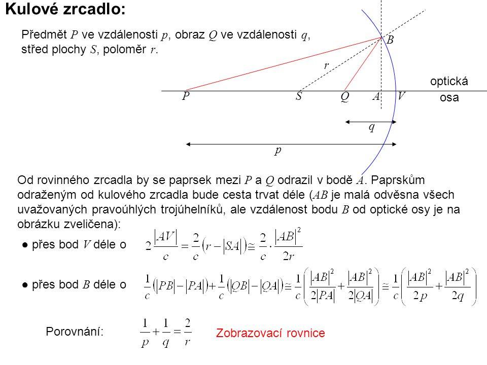 Kulové zrcadlo: Předmět P ve vzdálenosti p, obraz Q ve vzdálenosti q, střed plochy S, poloměr r. ● přes bod V déle o ● přes bod B déle o Porovnání: Zo