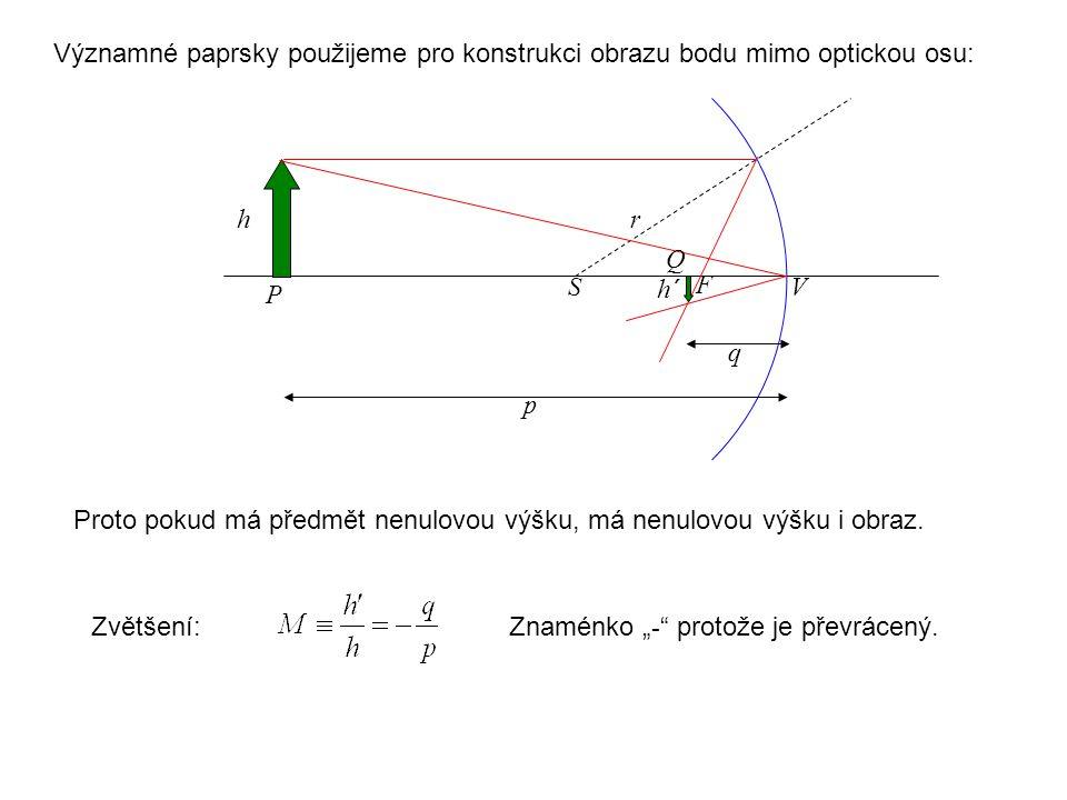 """Proto pokud má předmět nenulovou výšku, má nenulovou výšku i obraz. S P F V r p q h h´ Q Zvětšení:Znaménko """" - """" protože je převrácený. Významné paprs"""