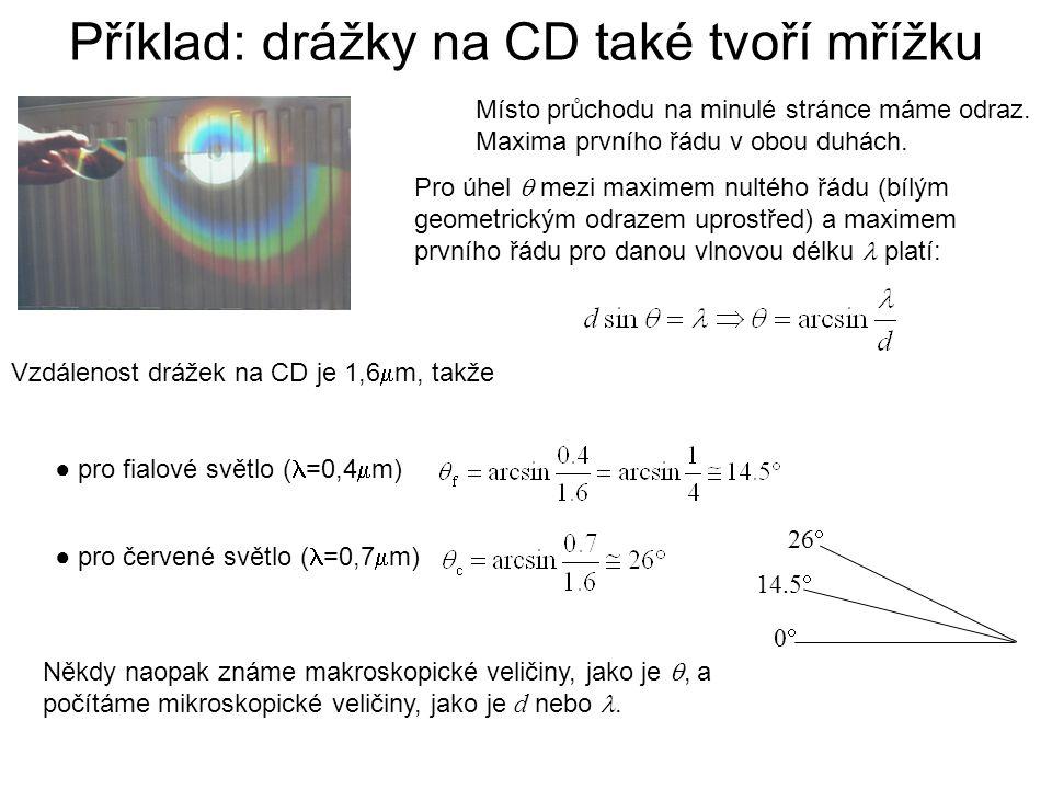 Příklad: drážky na CD také tvoří mřížku Místo průchodu na minulé stránce máme odraz. Maxima prvního řádu v obou duhách. Pro úhel  mezi maximem nultéh