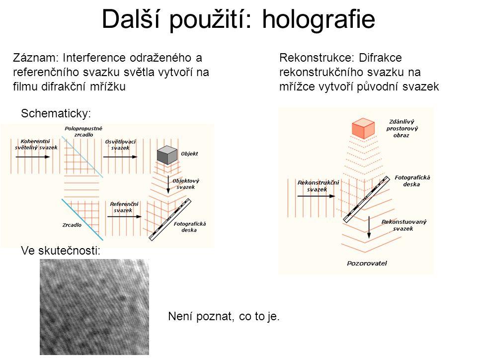 Další použití: holografie Záznam: Interference odraženého a referenčního svazku světla vytvoří na filmu difrakční mřížku Schematicky: Ve skutečnosti: