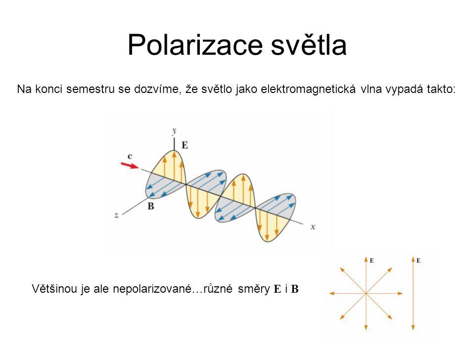 Polarizace světla Na konci semestru se dozvíme, že světlo jako elektromagnetická vlna vypadá takto: Většinou je ale nepolarizované…různé směry E i B