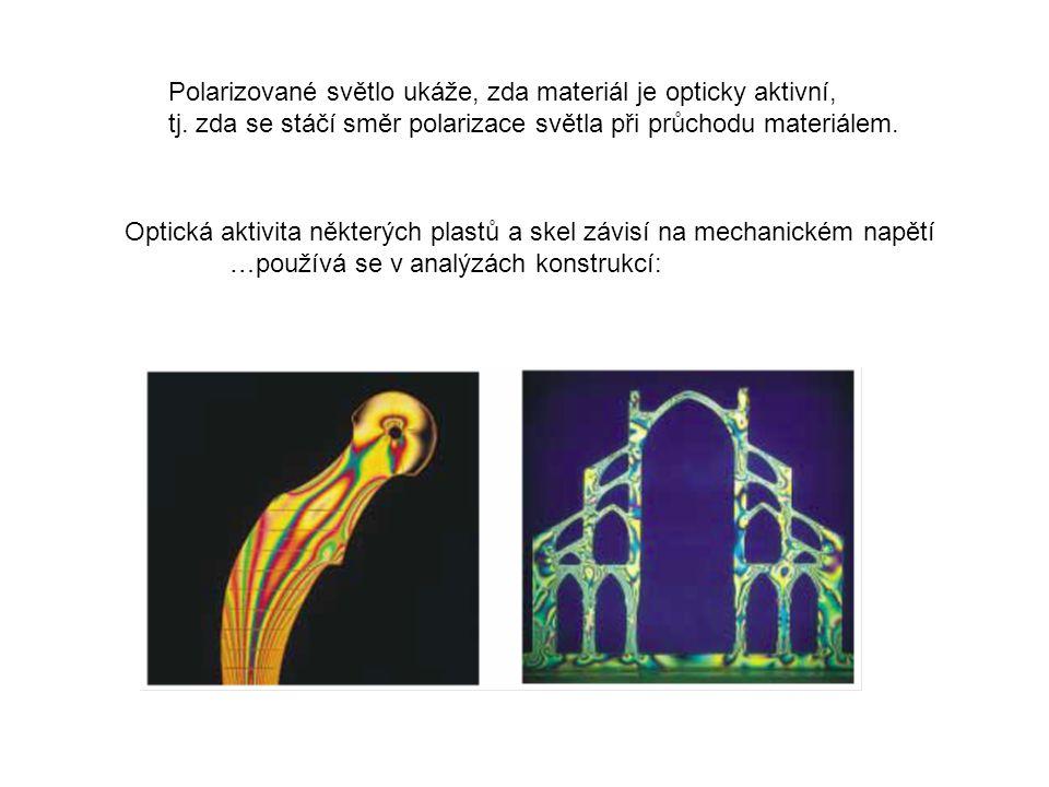Polarizované světlo ukáže, zda materiál je opticky aktivní, tj. zda se stáčí směr polarizace světla při průchodu materiálem. Optická aktivita některýc