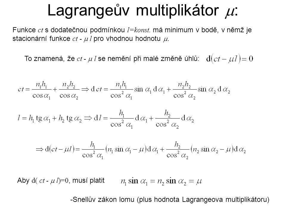 Lagrangeův multiplikátor  : To znamená, že ct -  l se nemění při malé změně úhlů: -Snellův zákon lomu (plus hodnota Lagrangeova multiplikátoru) Funk