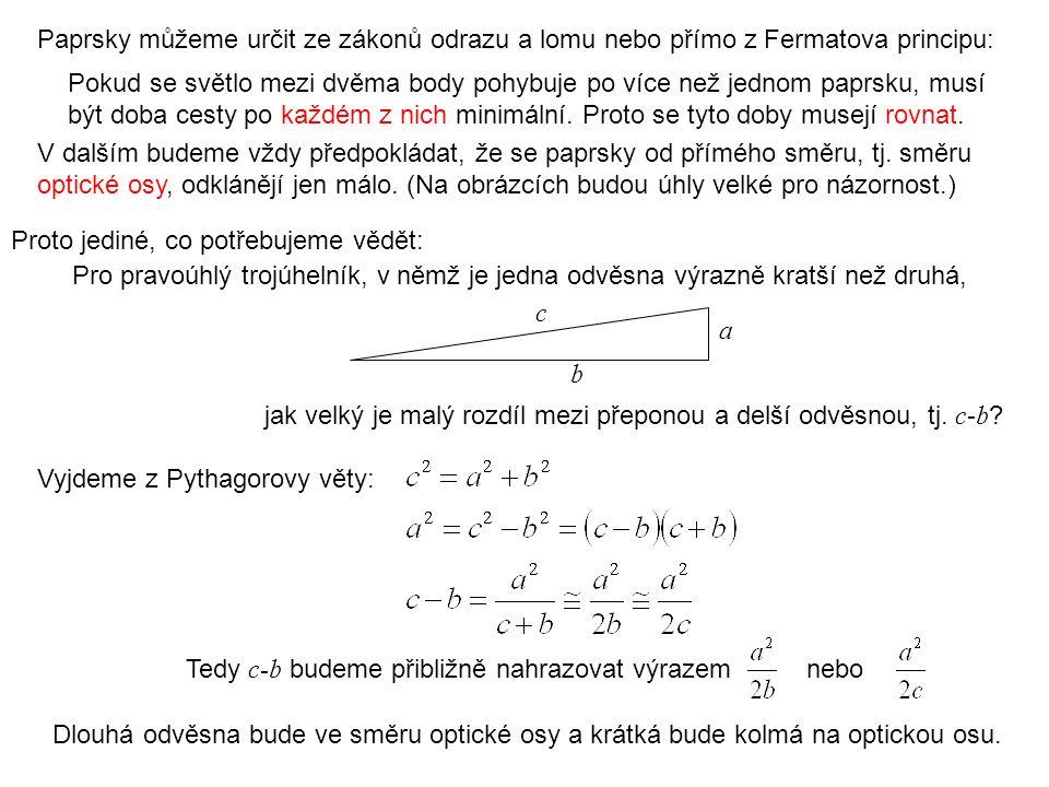 Paprsky můžeme určit ze zákonů odrazu a lomu nebo přímo z Fermatova principu: Proto jediné, co potřebujeme vědět: Pro pravoúhlý trojúhelník, v němž je
