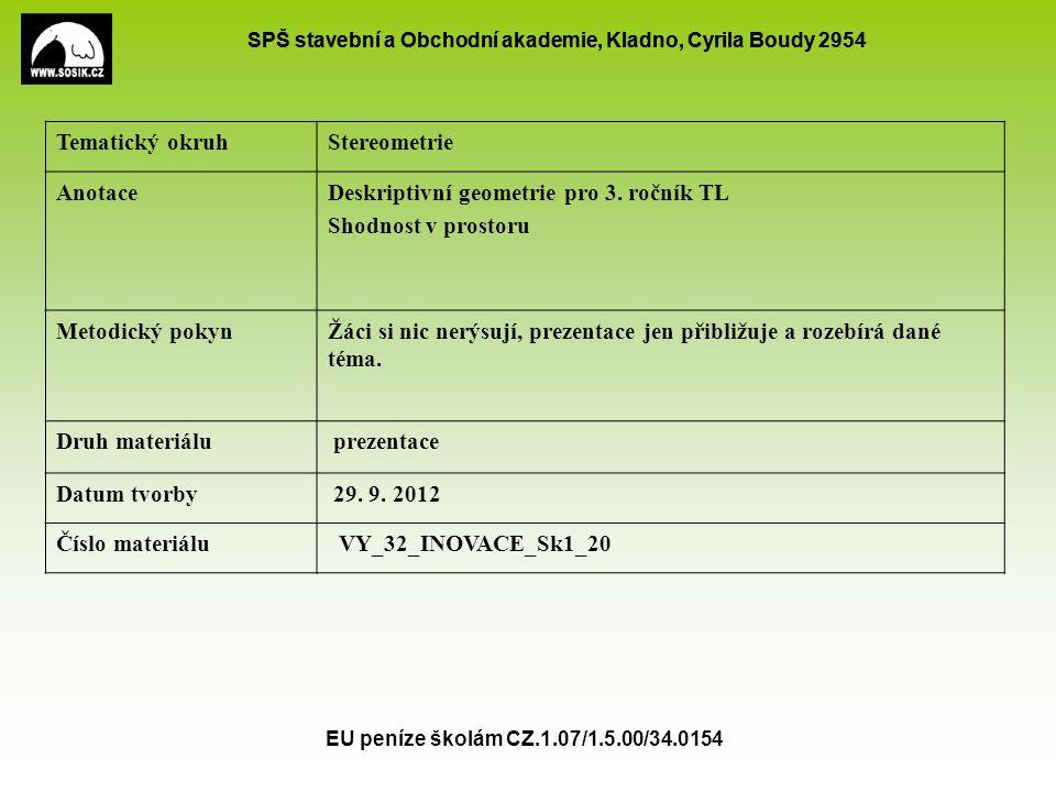 SPŠ stavební a Obchodní akademie, Kladno, Cyrila Boudy 2954 EU peníze školám CZ.1.07/1.5.00/34.0154 Tematický okruhStereometrie AnotaceDeskriptivní ge