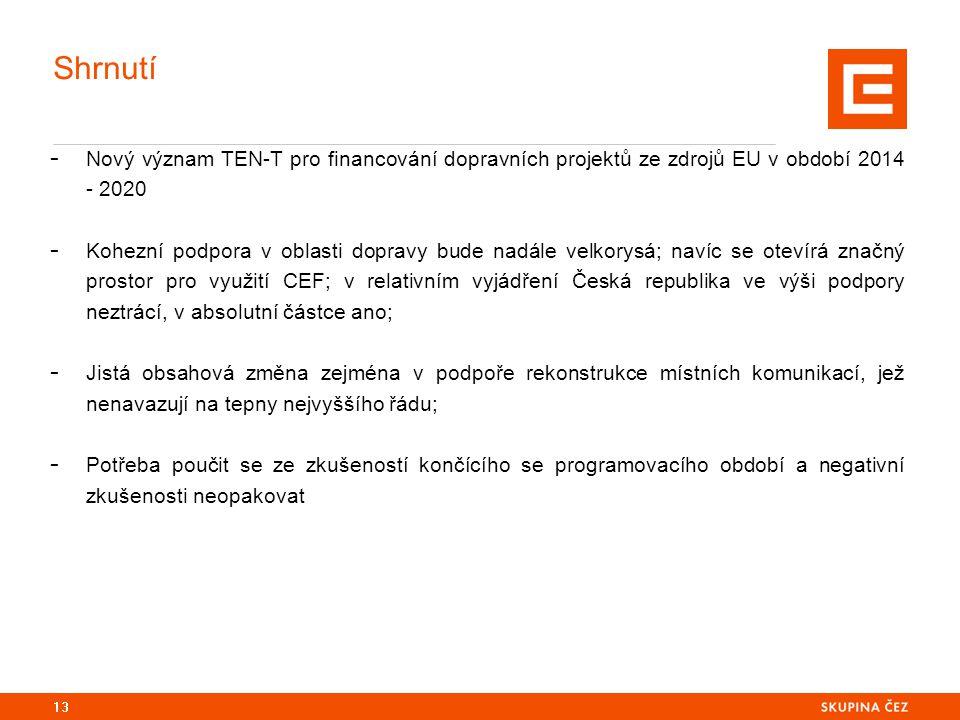Shrnutí - Nový význam TEN-T pro financování dopravních projektů ze zdrojů EU v období 2014 - 2020 - Kohezní podpora v oblasti dopravy bude nadále velkorysá; navíc se otevírá značný prostor pro využití CEF; v relativním vyjádření Česká republika ve výši podpory neztrácí, v absolutní částce ano; - Jistá obsahová změna zejména v podpoře rekonstrukce místních komunikací, jež nenavazují na tepny nejvyššího řádu; - Potřeba poučit se ze zkušeností končícího se programovacího období a negativní zkušenosti neopakovat 13