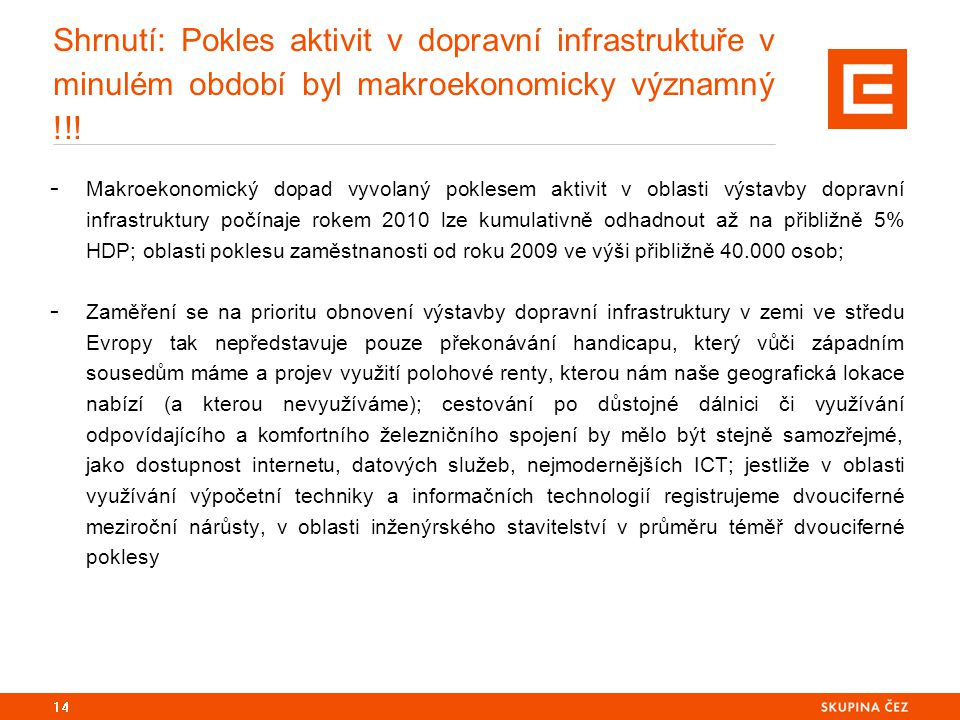 Shrnutí: Pokles aktivit v dopravní infrastruktuře v minulém období byl makroekonomicky významný !!.