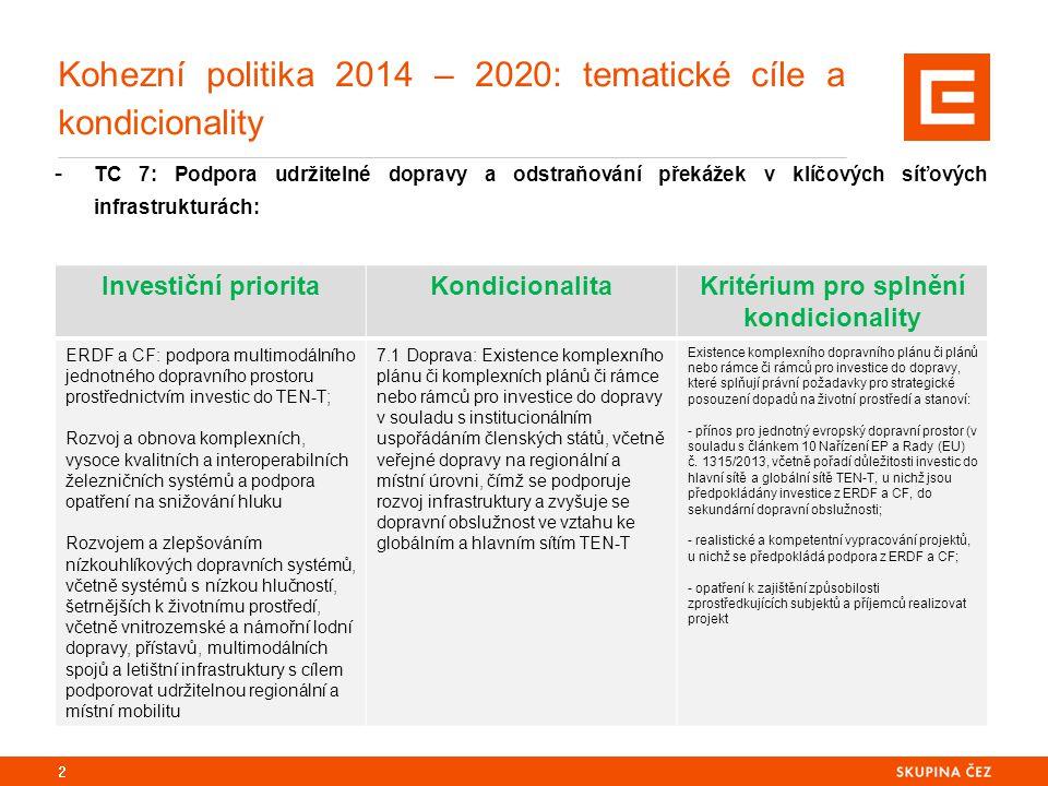 Kohezní politika 2014 – 2020: tematické cíle a kondicionality - TC 7: Podpora udržitelné dopravy a odstraňování překážek v klíčových síťových infrastrukturách: 2 Investiční prioritaKondicionalitaKritérium pro splnění kondicionality ERDF a CF: podpora multimodálního jednotného dopravního prostoru prostřednictvím investic do TEN-T; Rozvoj a obnova komplexních, vysoce kvalitních a interoperabilních železničních systémů a podpora opatření na snižování hluku Rozvojem a zlepšováním nízkouhlíkových dopravních systémů, včetně systémů s nízkou hlučností, šetrnějších k životnímu prostředí, včetně vnitrozemské a námořní lodní dopravy, přístavů, multimodálních spojů a letištní infrastruktury s cílem podporovat udržitelnou regionální a místní mobilitu 7.1 Doprava: Existence komplexního plánu či komplexních plánů či rámce nebo rámců pro investice do dopravy v souladu s institucionálním uspořádáním členských států, včetně veřejné dopravy na regionální a místní úrovni, čímž se podporuje rozvoj infrastruktury a zvyšuje se dopravní obslužnost ve vztahu ke globálním a hlavním sítím TEN-T Existence komplexního dopravního plánu či plánů nebo rámce či rámců pro investice do dopravy, které splňují právní požadavky pro strategické posouzení dopadů na životní prostředí a stanoví: - přínos pro jednotný evropský dopravní prostor (v souladu s článkem 10 Nařízení EP a Rady (EU) č.