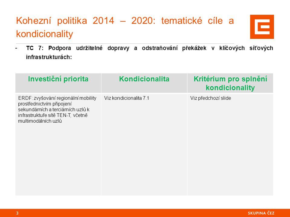 Kohezní politika 2014 – 2020: tematické cíle a kondicionality - TC 7: Podpora udržitelné dopravy a odstraňování překážek v klíčových síťových infrastrukturách: 3 Investiční prioritaKondicionalitaKritérium pro splnění kondicionality ERDF: zvyšování regionální mobility prostřednictvím připojení sekundárních a terciárních uzlů k infrastruktuře sítě TEN-T, včetně multimodálních uzlů Viz kondicionalita 7.1Viz předchozí slide