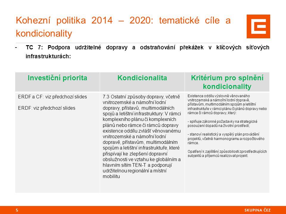 Kohezní politika 2014 – 2020: tematické cíle a kondicionality - TC 7: Podpora udržitelné dopravy a odstraňování překážek v klíčových síťových infrastrukturách: 5 Investiční prioritaKondicionalitaKritérium pro splnění kondicionality ERDF a CF: viz předchozí slides ERDF: viz předchozí slides 7.3 Ostatní způsoby dopravy, včetně vnitrozemské a námořní lodní dopravy, přístavů, multimodálních spojů a letištní infrastruktury: V rámci komplexního plánu či komplexních plánů nebo rámce či rámců dopravy existence oddílu zvlášť věnovanému vnitrozemské a námořní lodní dopravě, přístavům, multimodálním spojům a letištní infrastruktuře, které přispívají ke zlepšení dopravní obslužnosti ve vztahu ke globálním a hlavním sítím TEN-T a podporují udržitelnou regionální a místní mobilitu Existence oddílu výslovně věnovaného vnitrozemské a námořní lodní dopravě, přístavům, multimodálním spojům a letištní infrastruktuře v rámci plánu či plánů dopravy nebo rámce či rámců dopravy, který: - splňuje zákonné požadavky na strategické posouzení dopadů na životní prostředí; - stanoví realistický a vyspělý plán provádění projektů, včetně harmonogramu a rozpočtového rámce.