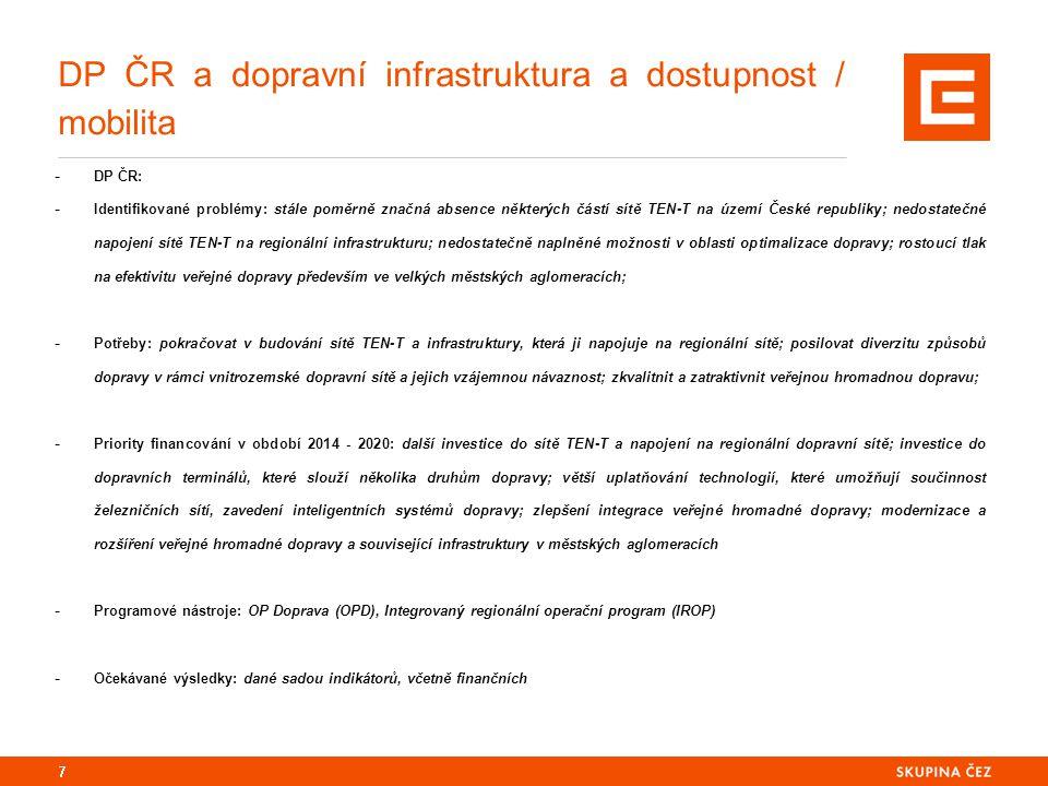 DP ČR a dopravní infrastruktura a dostupnost / mobilita - DP ČR: - Identifikované problémy: stále poměrně značná absence některých částí sítě TEN-T na