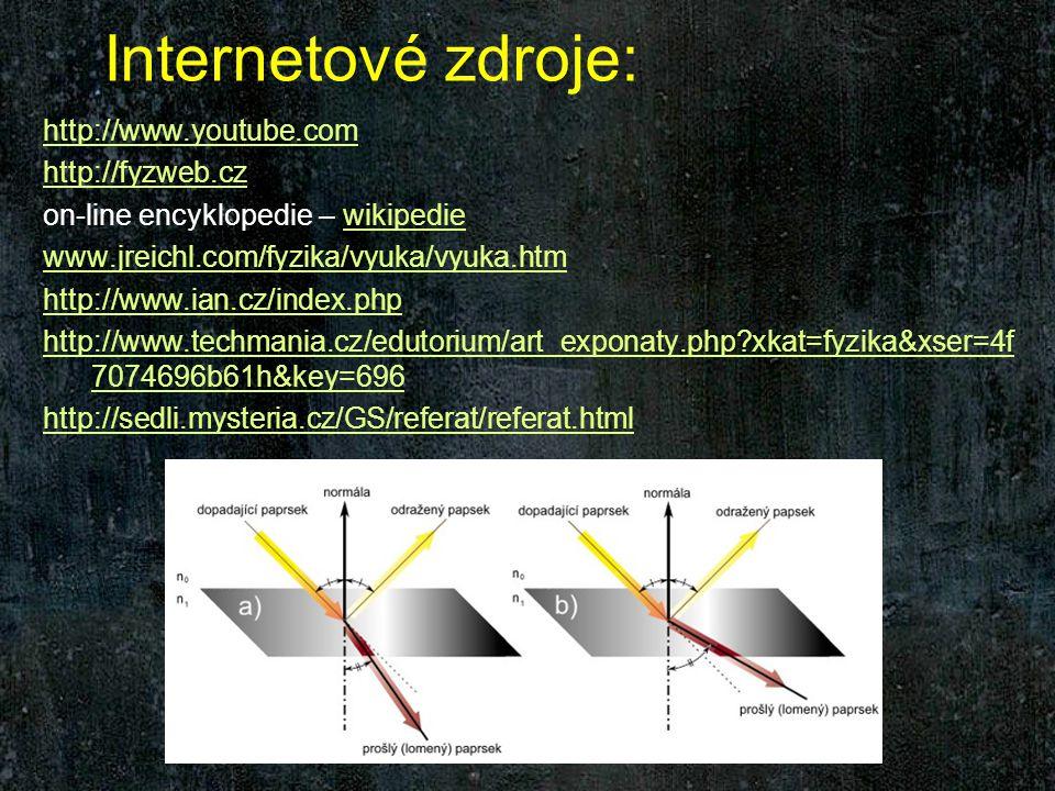 Internetové zdroje: http://www.youtube.com http://fyzweb.cz on-line encyklopedie – wikipediewikipedie www.jreichl.com/fyzika/vyuka/vyuka.htm http://www.ian.cz/index.php http://www.techmania.cz/edutorium/art_exponaty.php xkat=fyzika&xser=4f 7074696b61h&key=696 http://sedli.mysteria.cz/GS/referat/referat.html