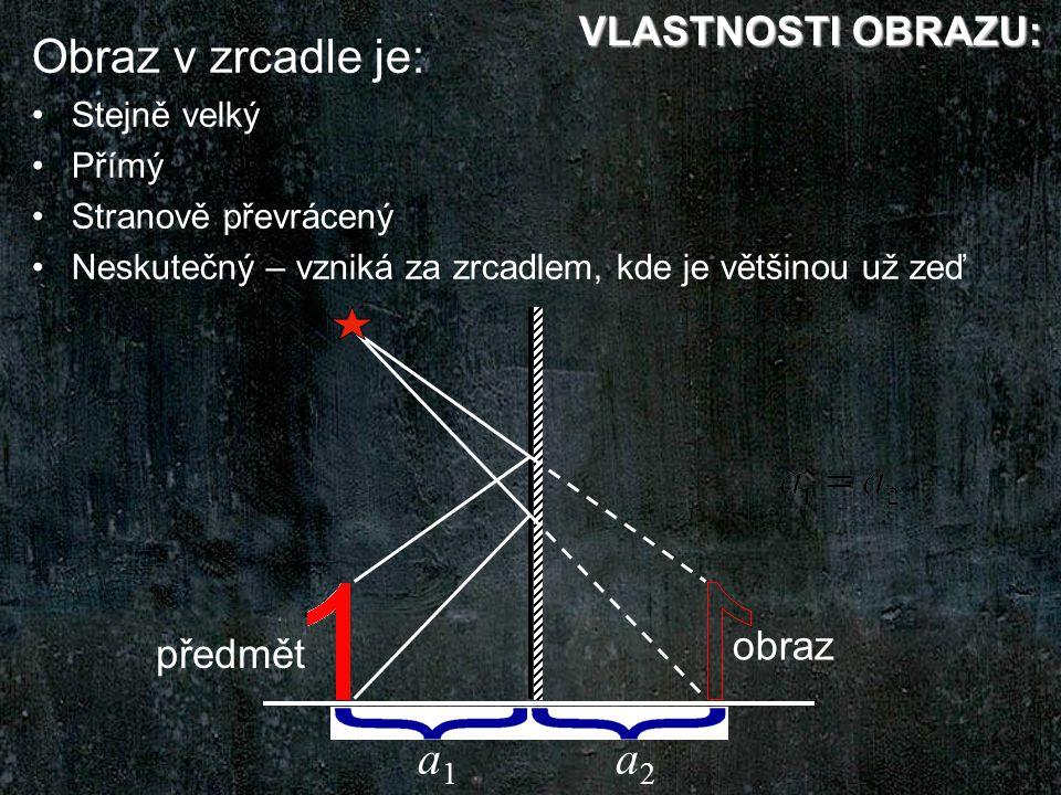 a1a1 a2a2 předmět obraz Obraz v zrcadle je: Stejně velký Přímý Stranově převrácený Neskutečný – vzniká za zrcadlem, kde je většinou už zeď VLASTNOSTI OBRAZU: