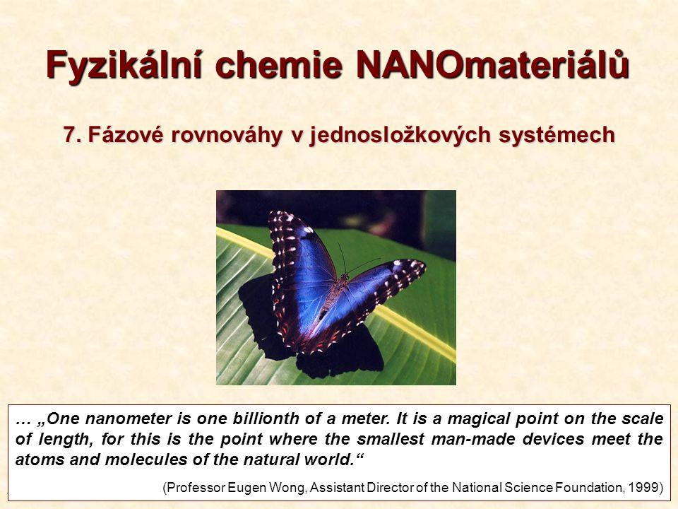 """T7-20131 1 Fyzikální chemie NANOmateriálů … """"One nanometer is one billionth of a meter."""