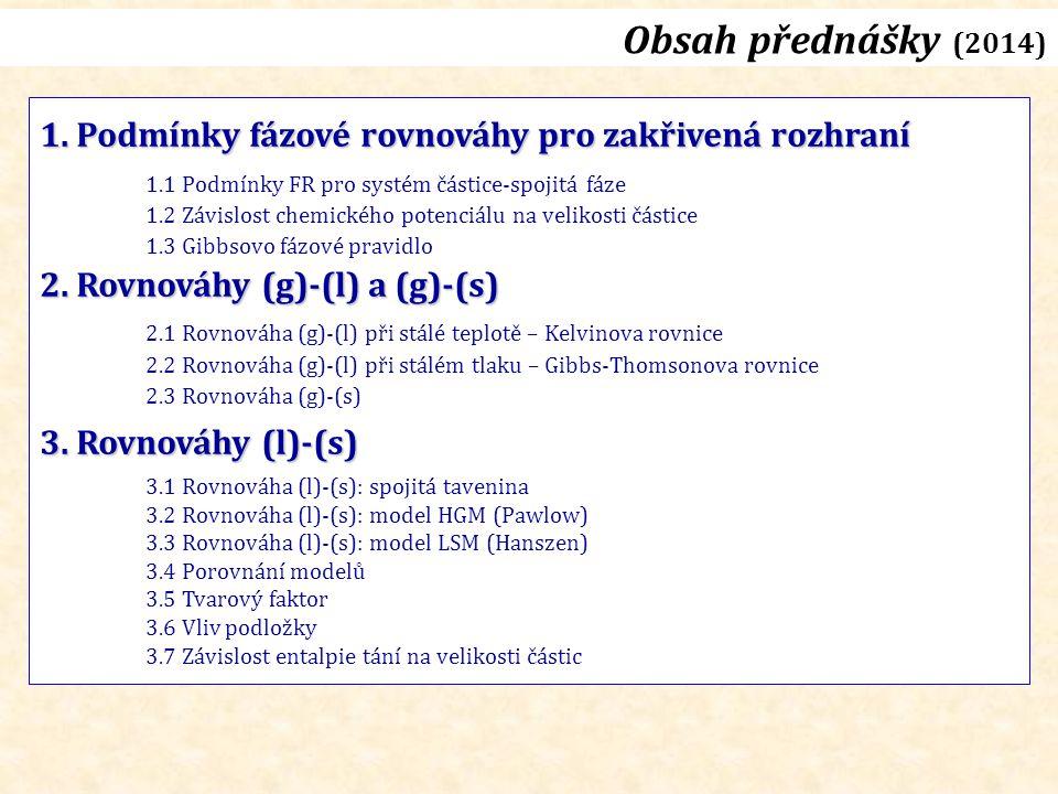 Rovnováha (l)-(s): entalpie tání Závislost ΔH F na velikosti částice (r)